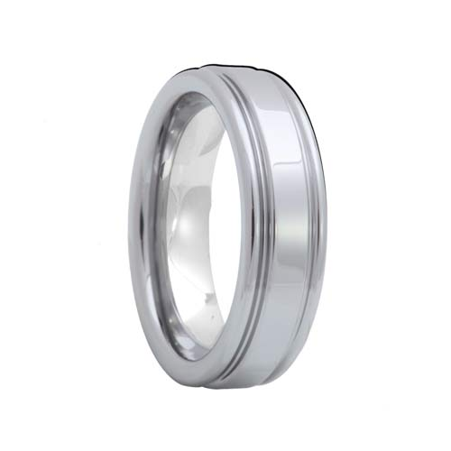 Grooved High Polish Shine Tungsten Carbide Band
