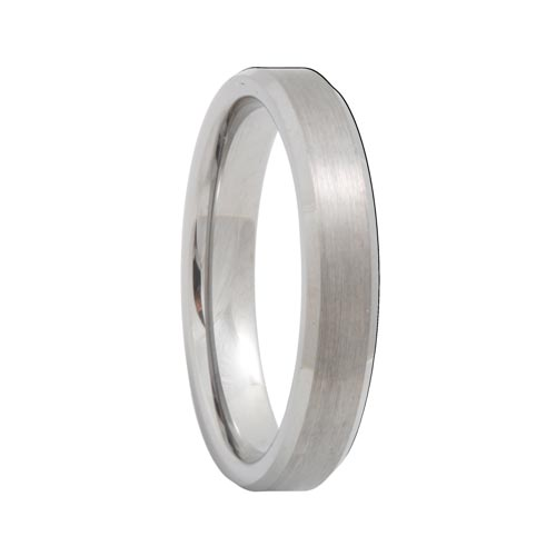 Beveled Satin Finish 4mm Tungsten Wedding Ring