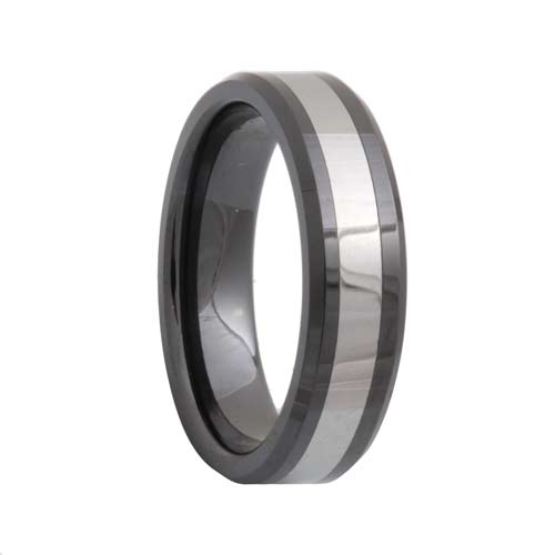 Beveled Black Ceramic Tungsten Carbide Inlay Ring