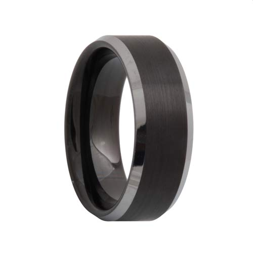 Matte Black Tungsten Carbide Band Polished Edges