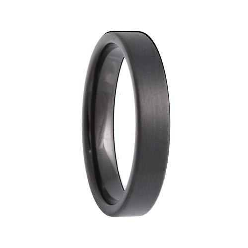 Pipe Cut Brushed 4mm Black Tungsten Carbide Band
