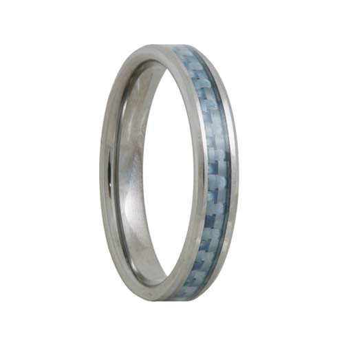 Blue Carbon Fiber 4mm Tungsten Carbide Wedding Band