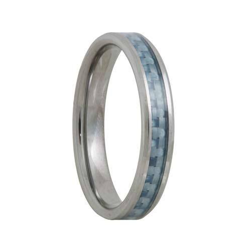 Blue Carbon Fiber 4mm Tungsten Carbide Wedding Band