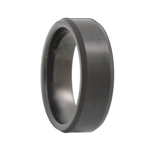 Beveled Satin Black Tungsten Band (6mm - 8mm)