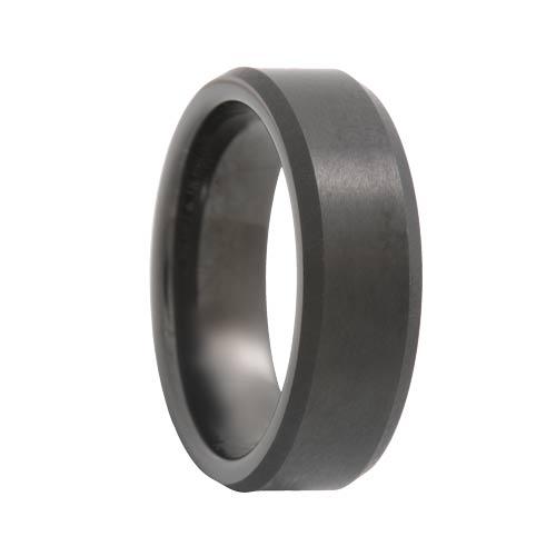 Beveled Satin Black Tungsten Band (6mm - 8mm)