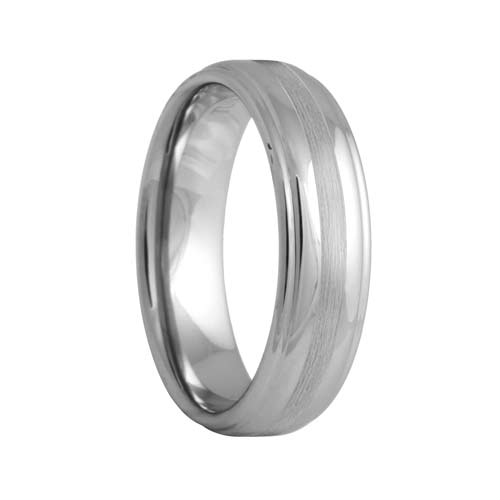Step Edge Tungsten Ring with a Satin Stripe