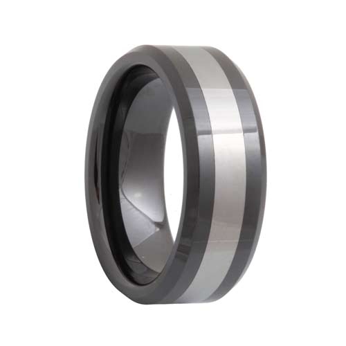 Beveled Black Ceramic Tungsten Inlay Ring (6mm - 8mm)
