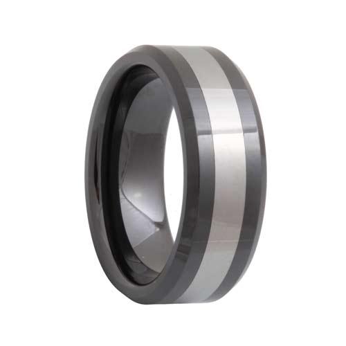 Beveled Black Ceramic Tungsten Inlay Ring (6mm - 8mm)