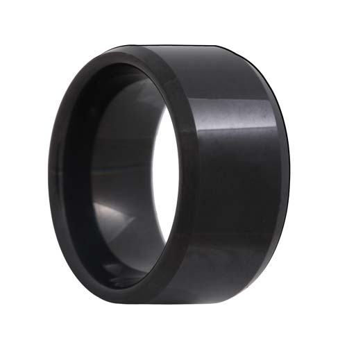Beveled 12mm Extra Wide Black Tungsten Ring