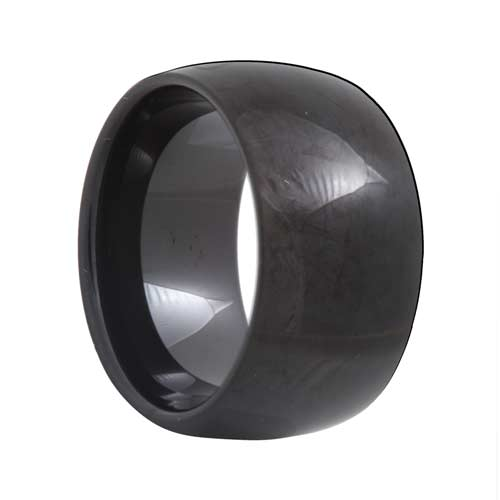 Dome 12mm Extra Wide Black Tungsten Carbide Ring