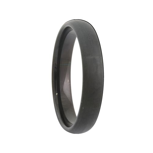 Rounded Satin Black Tungsten Wedding Ring