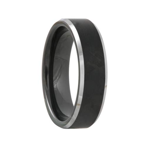 Satin Black Tungsten Wedding Band Polished Bevels