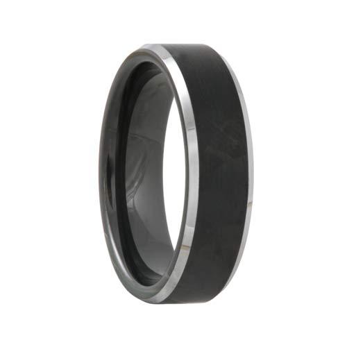 Satin Black Tungsten Wedding Band Polished Bevels