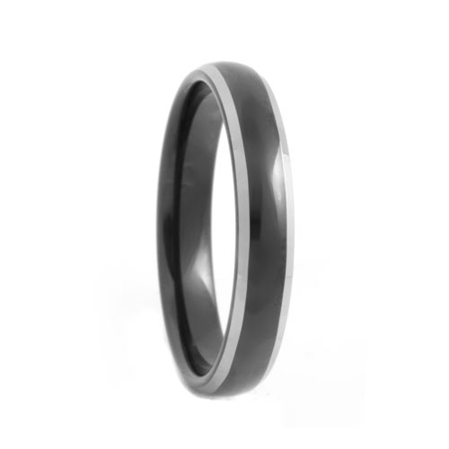Dome 4mm Black Tungsten Band with Polished Beveled Edges