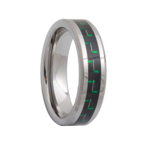 Tungsten Carbide Ring With Black & Green Carbon Fiber Inlay