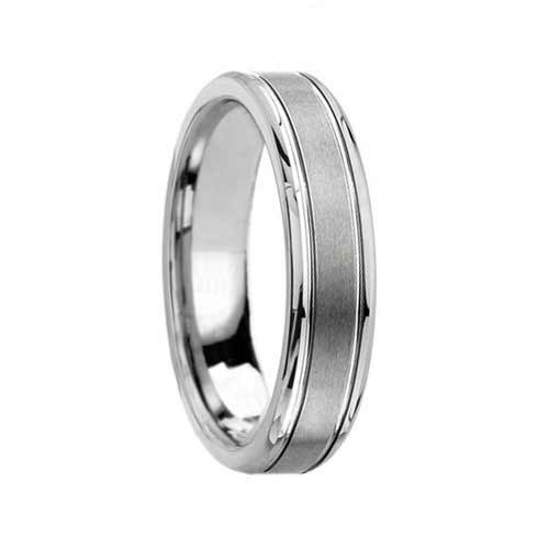 Satin Designer Tungsten Wedding Ring with Grooves