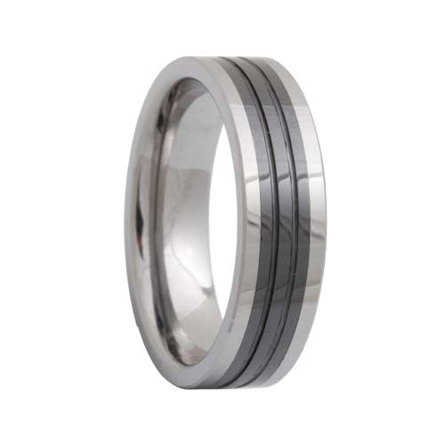 Pipe Cut Ceramic Inlaid 2 Tone Tungsten Ring Groove