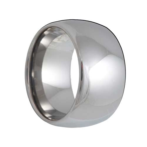 12mm Dome Extra Wide White Tungsten Band