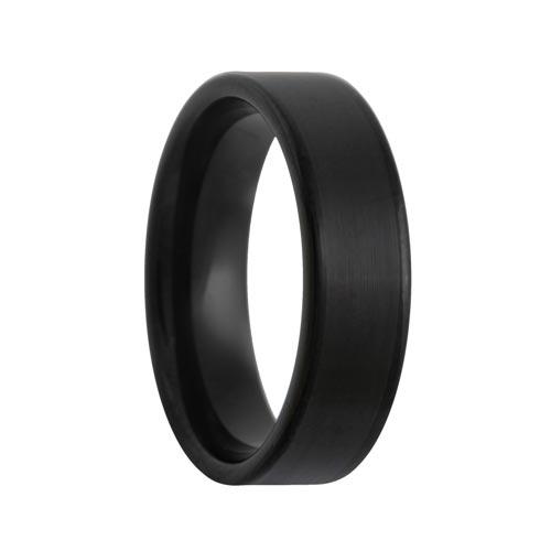 Flat Satin Center Polished Edges Black Tungsten Band